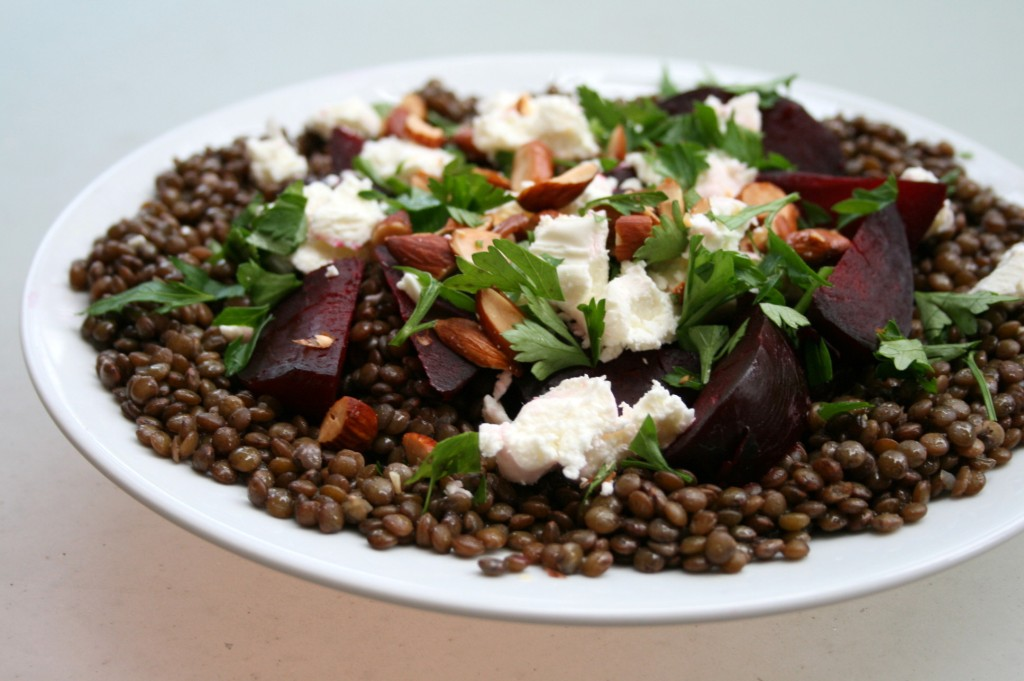Green lentil and roasted beetroot salad