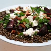 Green lentil and roasted beetroot salad
