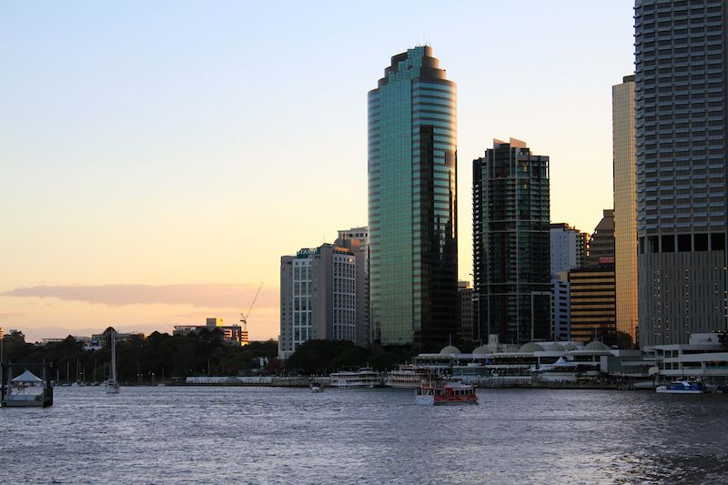 The Brisbane River and CBD at sunset