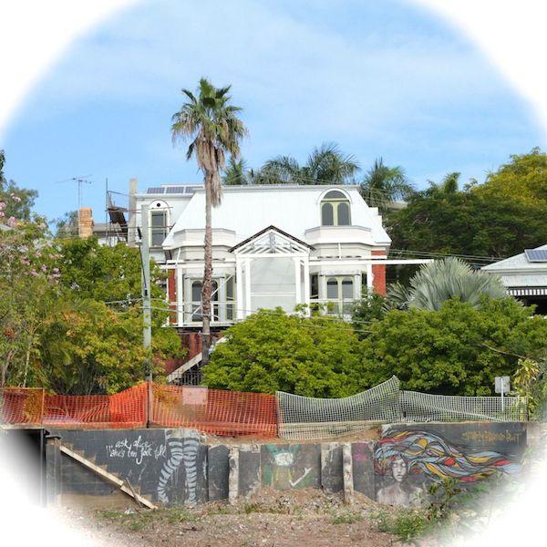 House and graffiti in Teneriffe, Brisbane