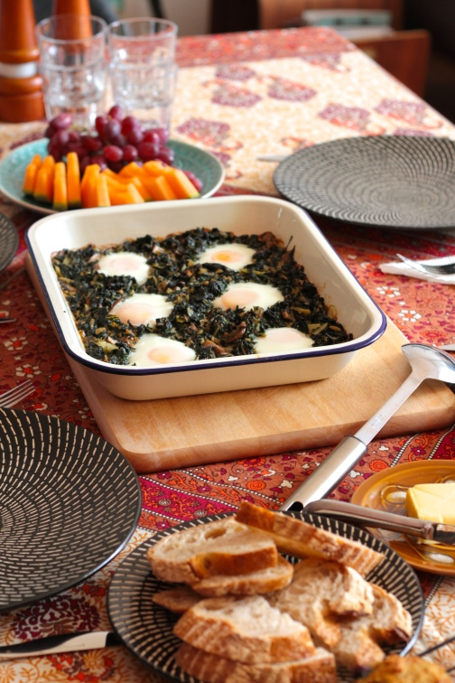 Baked eggs with silverbeet and mushrooms