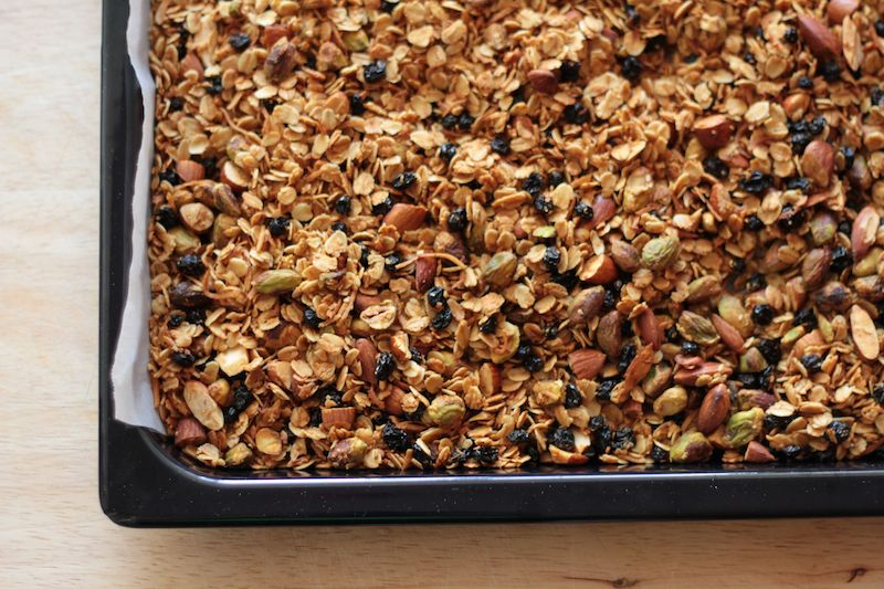 Browned and crispy granola, fresh from the oven