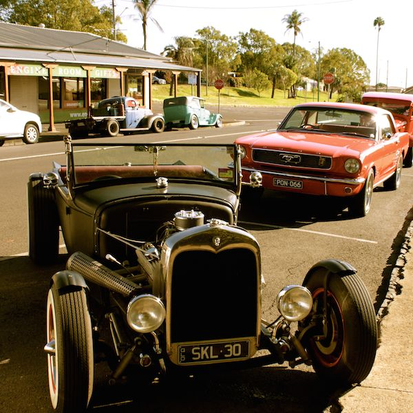 Rat rod outside The Engine Room cafe, Toowoomba, Queensland