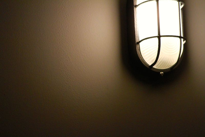 Bulkhead lights, powder-coated and installed throughout our apartment