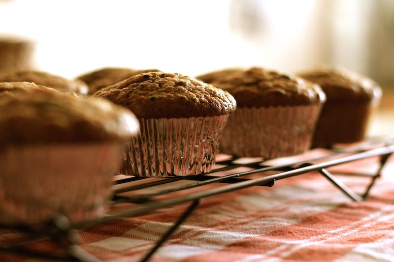 banana-and-cacao-nib-muffins-cooling