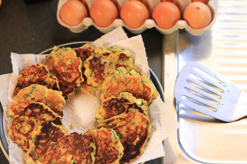 Freshly made sweetcorn fritters