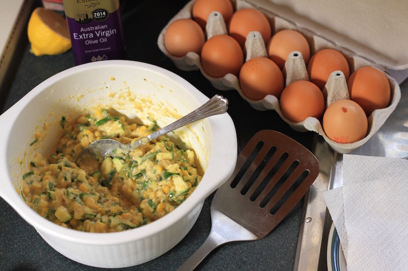 Sweetcorn fritters - batter ready to fry
