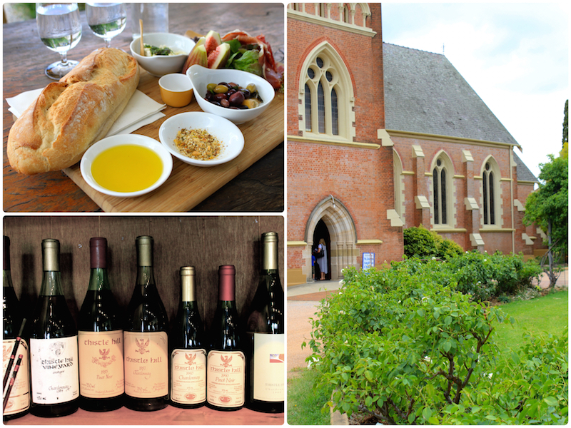 Old church in Mudgee town, lunch at Lowe's wines and Vintage wines at Thistle Hill