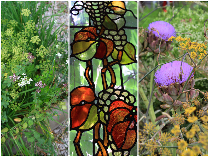 Stained glass windows at Huntington Estate, and the organic kitchen garden at Lowe wines