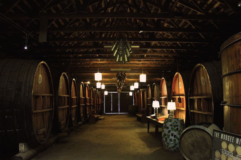 Dark and atmospheric cellar at Pieter van Gent Wines, Mudgee, NSW