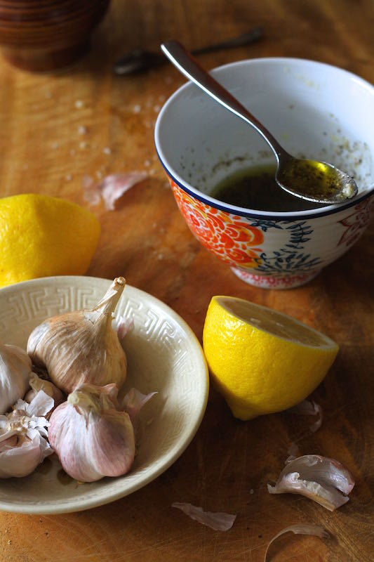 Lemon, garlic and olive oil dressing