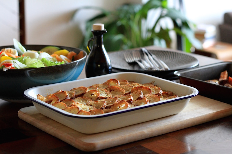 Fresh fish pie with crispy bread topping
