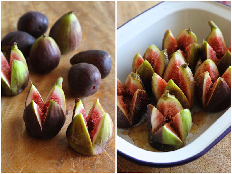 Roasted figs with lemon scented labneh