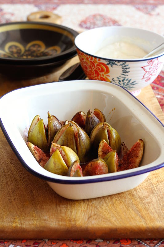 Autumn produce - fresh figs roasted with spices and served with lemon scented labneh