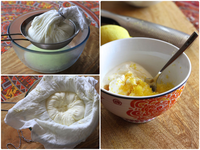 Making fresh labneh - strained yoghurt cheese