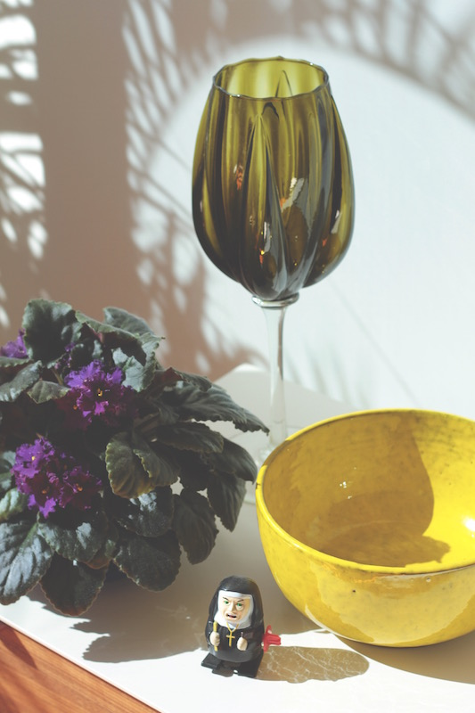 Danish yellow bowl and olive green goblet