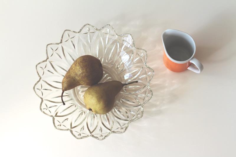 Glass bowl and orange milk jug