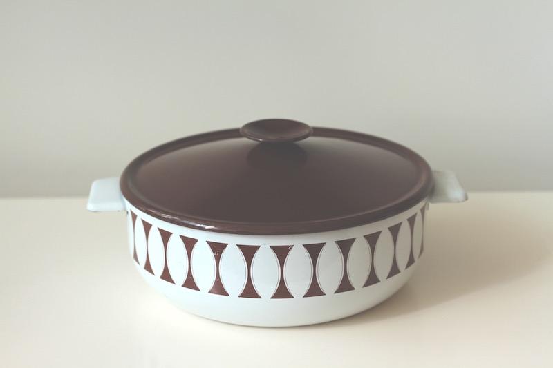 Mum's white and brown enamel casserole dish