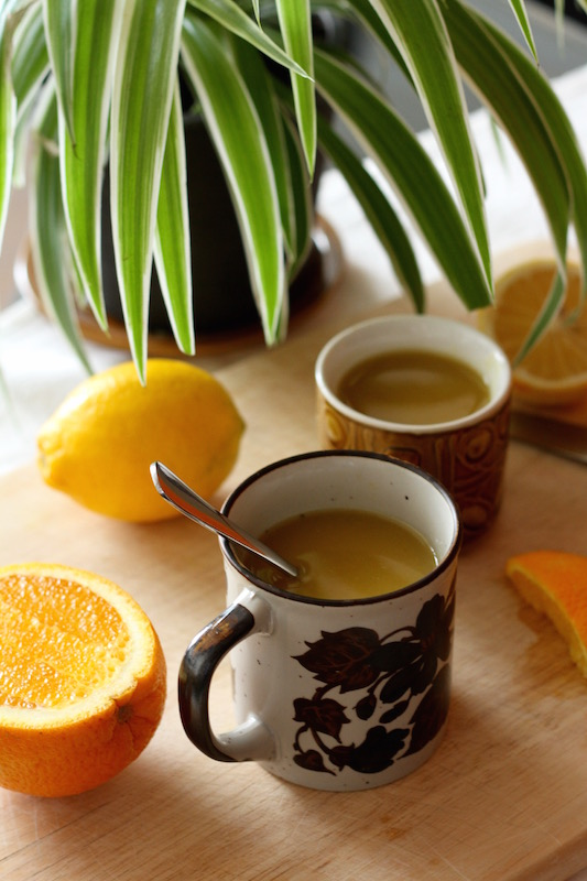 Under the Weather Tea - a medicinal infusion of fresh turmeric, ginger and barley