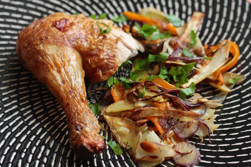 Roast Chicken with Nigel Slater's Root Vegetable Tangle