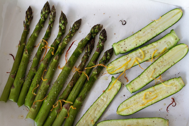 Roasted asparagus and courgettes with lemon zest