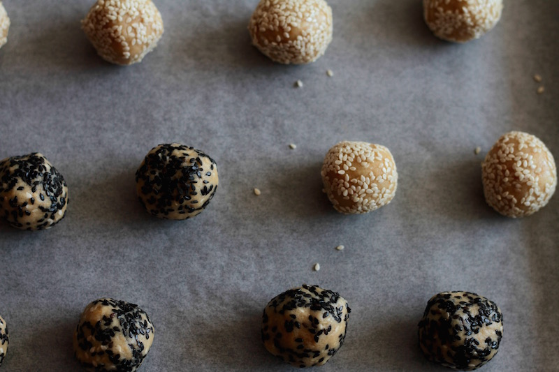 Tahini Cookies - rolled in sesame seeds then baked until crisp