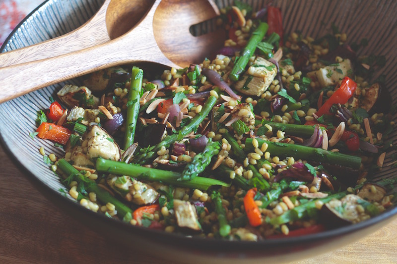 Freekeh Salad with Aubergine, Almond and Mint 2