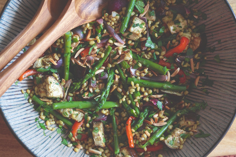 Freekeh Salad with Aubergine, Almond and Mint