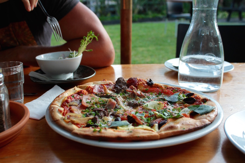 Woodfired pizza, Leigh Sawmill Cafe, Matakana Coast, New Zealand
