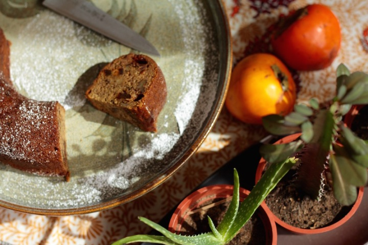 Persimmon Cake with Whiskey and Walnuts
