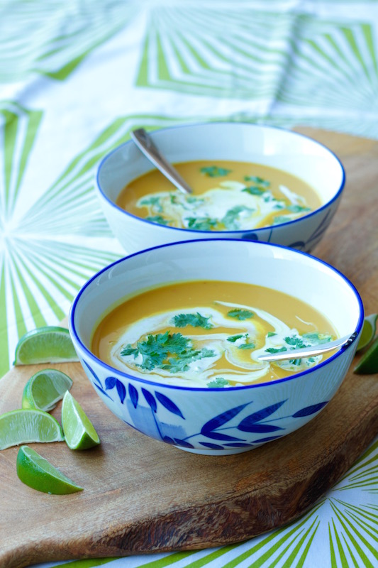Thai Pumpkin Soup with coconut, lemongrass, ginger and turmeric
