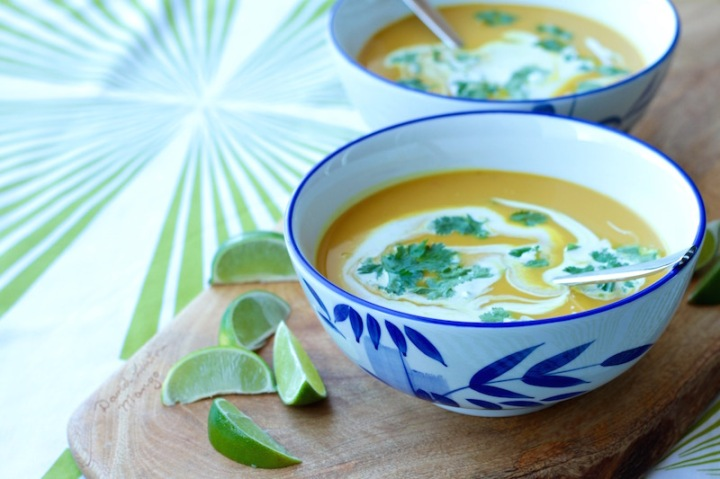 Thai Pumpkin Soup with coconut, lime, turmeric and chilli