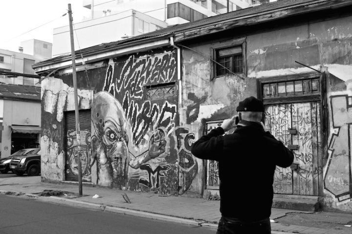 Aliens Attack - street art, Bellavista, Santiago Chile