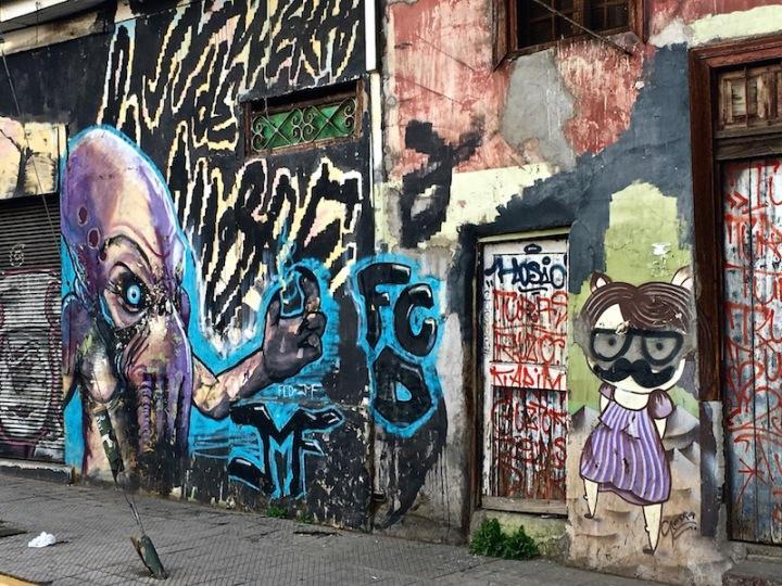 Aliens Attack - street art in Bellavista, Santiago Chile