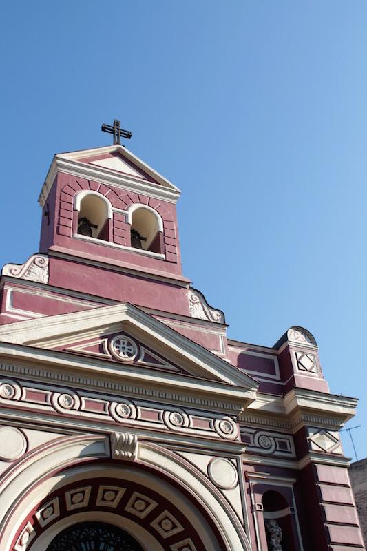 Colourful church in Lastarria, Santiago Chile