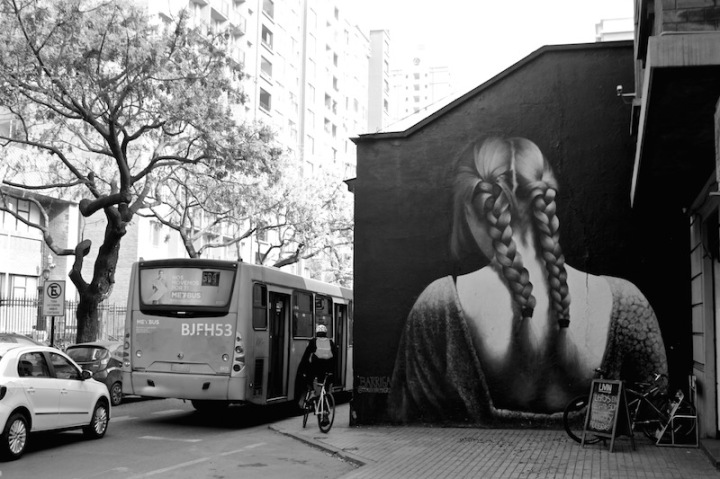 Girl with two plaits - street mural, Santiago Chile