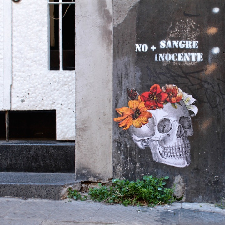 No more innocent blood - street collage, Santiago Chile