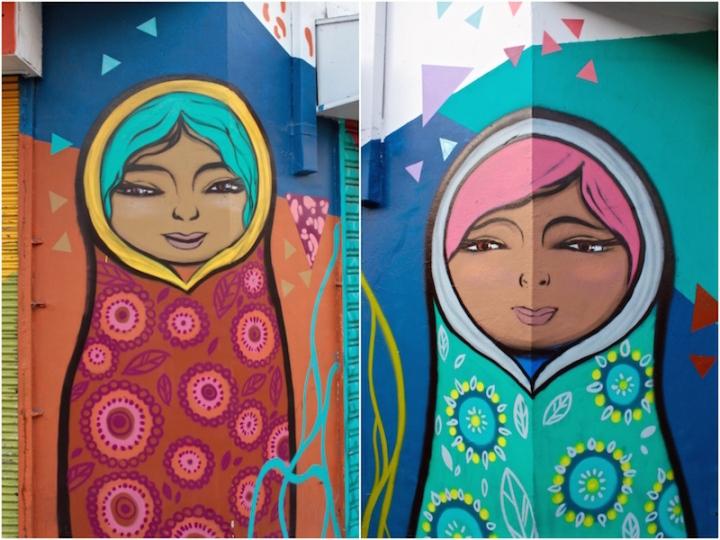 Russian Dolls - street art in Bellavista, Santiago de Chile