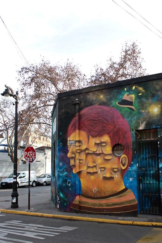 Something smells fishy - street art, Bellavista, Santiago Chile