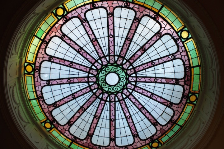 Stained glass ceiling dome, Santiago de Chile