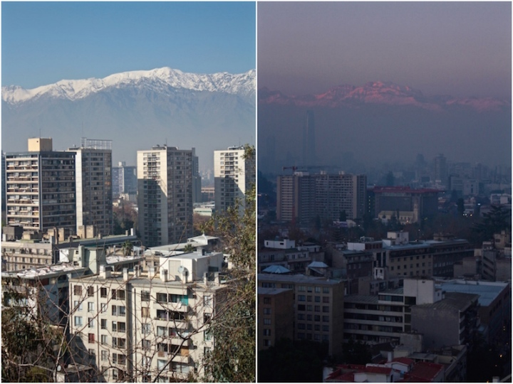 Andes Mountains, daylight and dusk, Santiago de Chile