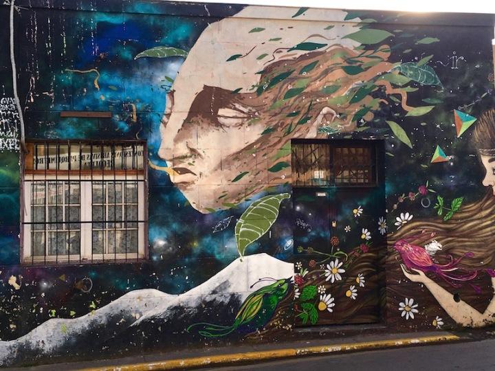 Windswept - street mural in Bellavista, Santiago, Chile