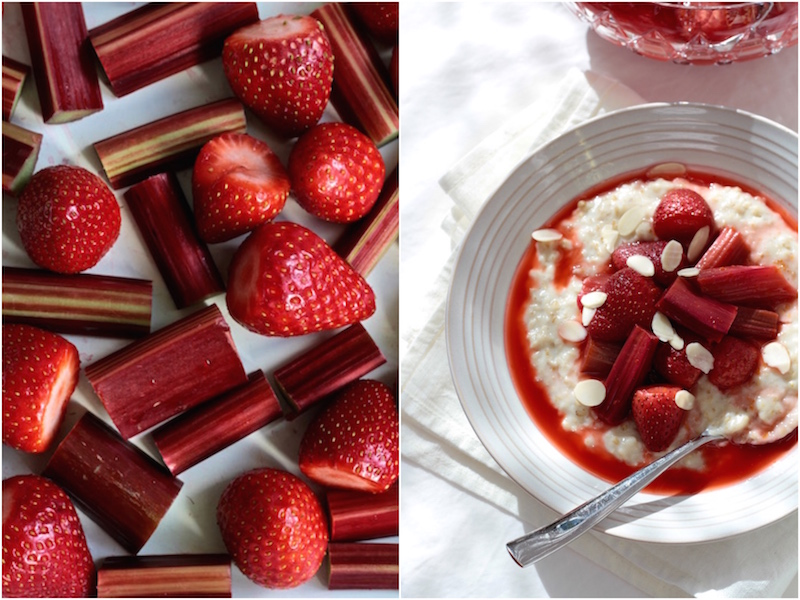 Spring food - rhubarb and strawberries roasted in orange zest