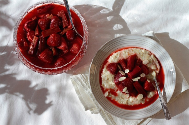 Spring food - Roasted Rhubarb & Strawberry Compote with oat porridge