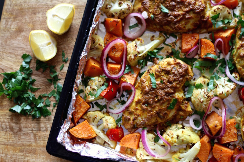 Quick and easy Baked Chicken Tikka with Spiced Sweet Potato and Cauliflower