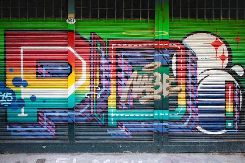 Roller door mural in Palermo Soho, Buenos Aires