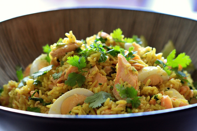 Kedgeree with poached salmon, coriander, lime and turmeric