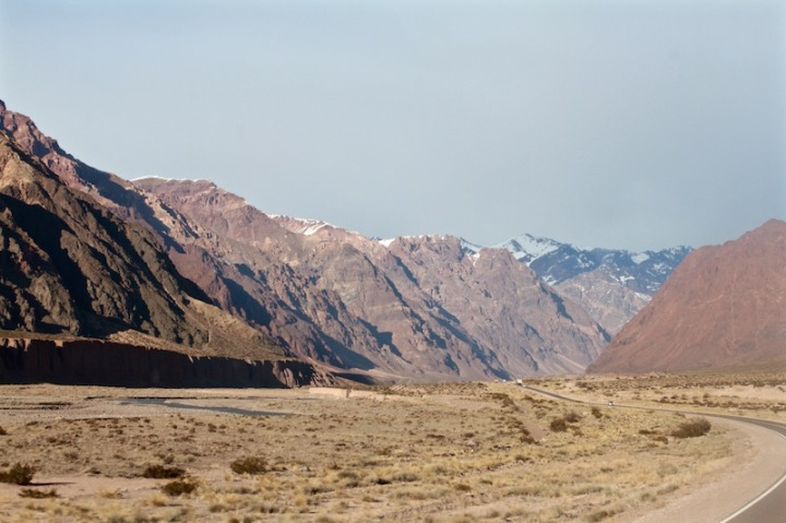 Bus trip from Argentina to Chile through the Andes