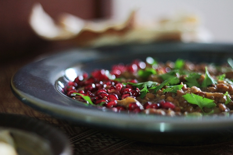 Palestinian Lentil and Aubergine Stew with Pomegranate