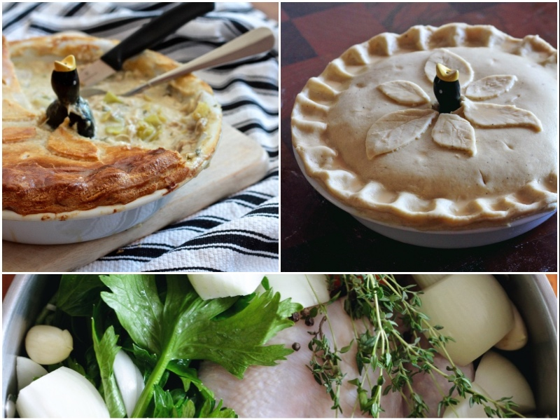 Chicken and Leek Pie with homemade puff pastry